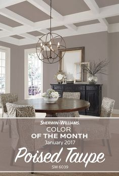 Start the new year with a touch of new paint color. Our Sherwin-Williams Color of the Month for January 2017 Poised Taupe SW 6039 strikes a fine balance between warm and cool tones working agilely with a broad range of styles and aesthetics. Living Room Colour Design, Living Room Colors, Living Room Decor, Taupe Living Room, Taupe Bedroom, Dining Room Paint Colors, Taupe Walls, Master Bedroom Color Ideas, Taupe Rooms