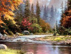 """Mountain Retreat"" by Thomas Kinkade Watercolor Landscape, Landscape Art, Landscape Paintings, Oil Paintings, Pictures To Paint, Nature Pictures, Thomas Kinkade Art, Kinkade Paintings, Thomas Kincaid"
