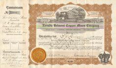 Nevada Belmont Copper Mines Company stock certificate