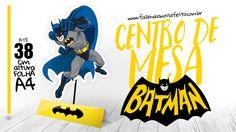 Centro de Mesa Batman, grátis para você imprimir em casa e usar na sua festa com o tema! Decore sua festa gastando pouco com esse lindo centro de mesa.
