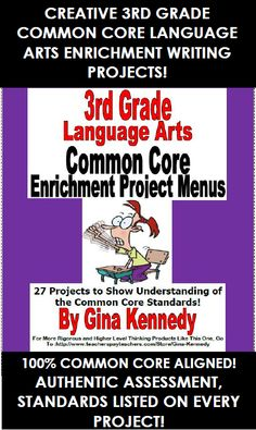 3RD GRADE ENRICHMENT LANGUAGE ARTS WRITING PROJECTS! 100% ALIGNED TO THE COMMON CORE STANDARDS! TEXT FEATURES, INFORMATIONAL TEXT, WRITING AND MORE! AN EXCELLENT WAY TO REVIEW ALL THE STANDARDS WITH CREATIVITY AND FUN! These menus are a must have for any 3rd grade language arts teacher. Each of the three menus have nine enrichment projects that are connected to a 3rd Grade Language Arts Common Core Standards.