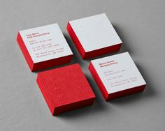 square business cards with red edge painting First & First Creative Real Estate Branding - Graphis Square Business Cards, Minimal Business Card, Cool Business Cards, Mock Up, 3d Printing Business, Name Card Design, Bussiness Card, Real Estate Branding, Business Card Design Inspiration
