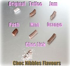 Choc Nibbles Every Flavour on one board with description