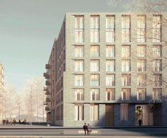 Architektenwettbewerb Mitte Altona: Ein sandfarbenes Gebäude sieht auch dieser Siegerentwurf vom Architekturbüro Baumschlager Eberle vor
