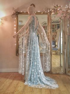 moon and star embroidered blue wedding dress by Joanne Fleming Design # blue Weddings Hello Moon Fairy Wedding Dress, Fairy Dress, Blue Wedding Dresses, Blue Dresses, Wedding Gowns, Prom Dresses, Blue Weddings, Romantic Weddings, Bridal Gown