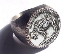 Makes a terrific gift! This ridiculously awesome sterling silver ring was cast from an original hobo nickel carved by Adam Leech (OHNS Life Member