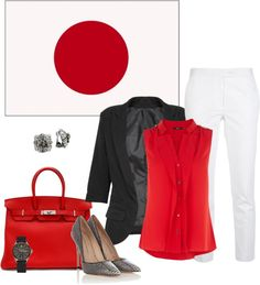 """Inspiracion from a flag: Japan"" by daha-mk ❤ liked on Polyvore"