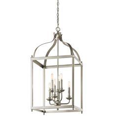 Larkin Brushed Nickel Six Light Cage Foyer Pendant Kichler Lantern Pendant Lighting Ceilin