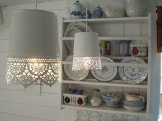 Ikea metal planters turned lamps + cute shelf