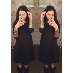 MalangFashion Black Patchwork Sequin Round Neck Long Sleeve Midi Dress