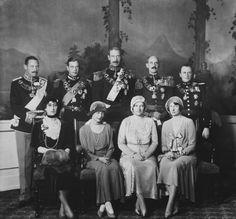 Group photograph c.1929-30. Standing: Prince Gustav of Denmark; George, Duke of Kent; King Christian X of Denmark; King Haakon VII of Norway; Crown Prince Olav of Norway. Seated: Queen Maud of Norway; Princess Thyra of Denmark; Queen Alexandrine of Denmark; Crown Princess Martha of Norway.