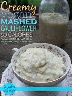 1. Steam 1 head cauliflower until soft. 2. Mash with a fork.  3. Blend with 1/2 cup of soymilk until smooth and creamy. 4. Mix in 1 tablespoon olive oil, 1/2 tablespoon garlic powder, 1 tsp. rosemary, 1 tsp. italian spices.  Optional: fresh basil, roasted garlic, carmelized onions, pan-roasted nuts.