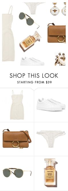 """I'm still hoping it's you and me in the end."" by lucieednie ❤ liked on Polyvore featuring Hervé Léger, Jil Sander, Chloé, For Love & Lemons and Ray-Ban"