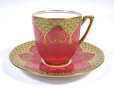 Coalport Jewelled Pink Cup & Saucer