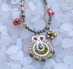 Bohemian Necklace in Coral Powder Green Lime Green by octaviabloom