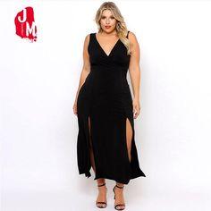 Split Ankle-Length Women Dress V-Neck Sleeveless Party Dress Backless Sexy  New Women Dresses 2018 A-line XXXL Long Party Dresses. ad7a3b8b7c7b