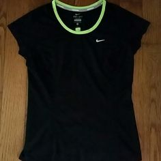 *Nike Running Racer Dri-Fit tee* Gently worn and in great condition! The outline around the neck is neon green along with the stripe down the back. The back has breathable mesh! Nike Tops Tees - Short Sleeve
