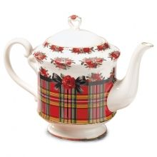 My mom wanted this teapot so bad when she had Alzheimers & I was able to find one online :) Now it's mine Christmas Tea Party, Tartan Christmas, Christmas China, Christmas Dishes, Merry Christmas, Xmas, Holiday, Christmas Dinnerware, Cuppa Tea
