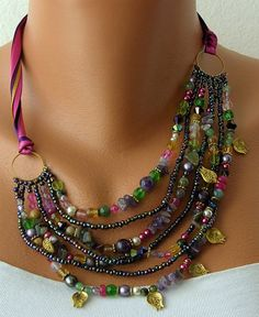 White Pearl Handmade Beaded Chains by mislady on Etsy, $45.00 -- love the colors!VERY MARDI GRAS!!