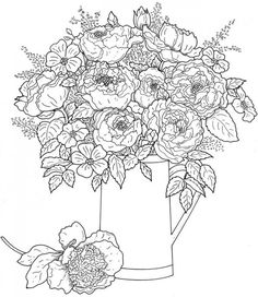 This large detailed floral bouquet of flowers coloring page is perfect for those of us adults who love to color! You can download load it for free from Dover Publications. You could even shrink the…