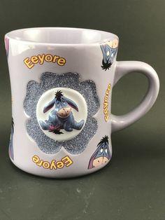 Disney Eeyore Purple Design w/Glitter Coffee Mug/Cup -Winnie the Pooh Works Coffee Time, Coffee Mugs, Eeyore, Mug Cup, 3d Design, Winnie The Pooh, It Works, Glitter, Purple