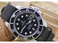 Rolex Submariner Replica Watch Black Dial White Dots/hands Stainless Steel Case Grey Nylon Strap