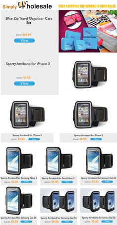 Today's Newsletter. 5Pce Zip Travel Organiser Case Set $24.95 | Sporty Armband for iPhone 3, 4/4s, 5/5s/5c, Samsung Note 2, 3, Samsung Galaxy S2, S3, S4 & S5