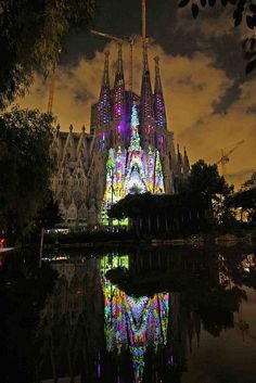 Sagrada Familia.2012. Fiestas de la Merce. Can't wait to go back and see this again but at night!