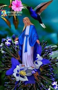 Jesus And Mary Pictures, Pictures Of Jesus Christ, Spiritual Pictures, Religious Pictures, Blessed Mother Mary, Blessed Virgin Mary, Lotus Flower Pictures, Virgin Mary Art, Jesus Christ Painting