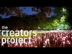 I love the user interaction with this project. It is abstract and unusual, exactly what I want to create for my project.   It is a video from the creators project.   A Field of 20,000 Glowing Lights | Bruce Munro at Cheekwood