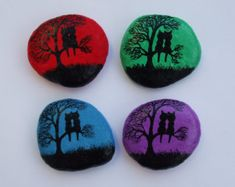 Owls Painting Painted Stone Magnet Owl Magnet Owls by ClaudinesArt