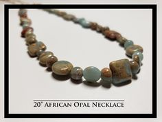 """20"""" African Opal Necklace Rock Necklace, Opal Necklace, Beaded Bracelets, Necklaces, Rocks, African, Free Shipping, Jewelry, Jewlery"""
