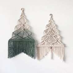 macrame Christmas trees