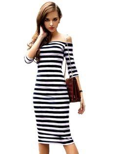 Vestido de malha com estampa listrada, de modelo ombro a ombro, comprimento midi, e mangas 3/4. Uma peça clássica e muito feminina, que reúne tendências atuais como o comprimento e o decote, junto ao clássico da estampa listrada. Branco e preto/ azul.