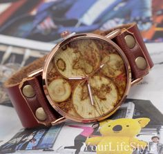 World Map Watch,Genuine Leather Watch,Mens Watch, from yourlifestyle by DaWanda.com