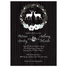 Wedding Invitation | Rustic Woodland Deer with Floral Wreath