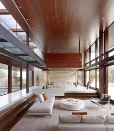 Sunken great room. OZ House, by Swatt | Miers Architects. Silicon Valley. #great_room #living_room #dining_room