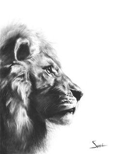 LION ARTWORK - lion painting, original oil painting, modern animal art, minimalist animal, bathroom art, lion wall decor, cat painting
