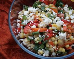Corn, Mini Sweet Pepper, and Feta salad... considering adding in pasta as well for a main.