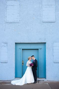 Bride and groom blue portrait