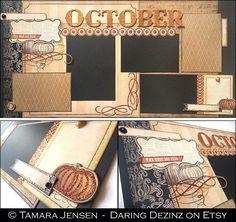 12x12 Premade Scrapbook Page Set October - Autumn/Fall Layout by Tamara Jensen - DaringDezinz on Etsy.