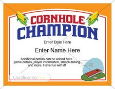 Bocce Champion Certificate Template  Who Is The Neighborhood