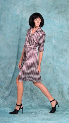 Lurestore houndstooth shirt dress #houndstoothprint #shirtdress #FALL15 #style #casualook #HowToWear Houndstooth Shirt, Fall Winter, Autumn, Shirtdress, Shirts, Vintage, Dresses, Style, Fashion