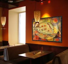 The Splash Of Colors From Ceramic Tile Mural Opens Up Room While Complimenting Restaurant Interior DesignRestaurant