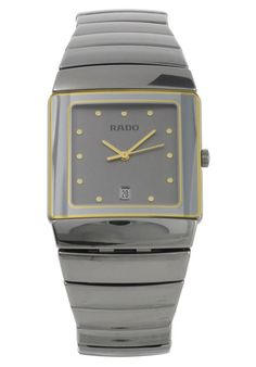 This is a pre-owned Rado DiaStar 152.0332.2. It has a 28mm Ceramic - Platinum Plated case (measured across its width, excluding crown),  a Grey Baton dial,  a Ceramic - Platinum Plated  bracelet,  and is powered by a Quartz movement.  The case has a 4358xxxx serial and  paperwork is dated 15 December 1999, making it 13 years old. It originated in the UK, and comes complete with box. It is also supplied with a comprehensive 12 month Watchfinder warranty.This Rado has undergone a thor...
