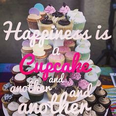Happiness is a cupcake and another. Dessert Quotes, Happy Day, Happiness, Cupcakes, Instagram Posts, Desserts, Food, Hapy Day, Tailgate Desserts