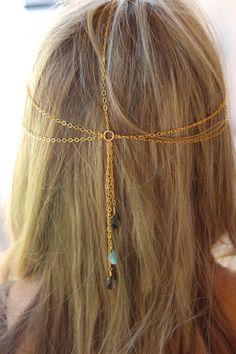 ADI HEADPIECE-Gold chain headpiece with Peruvian Opal. $65.00, via Etsy.