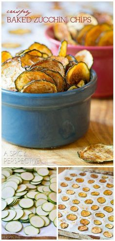 Crispy Baked Zucchini Chips are a healthy paleo-friendly snack recipe that is loaded with flavor and crunch, yet light in calories! Healthy Vegan Snacks, Vegan Appetizers, Yummy Snacks, Paleo Vegan, Snack Recipes, Cooking Recipes, Yummy Food, Healthy Muffins, Healthy Lunches