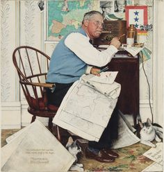 "Norman Rockwell (1894-1978) Armchair General (Man Charting War Maneuvers) inscribed and signed 'My best wishes to ""Pete"" and Don/Miller and the Staff of the Eagle./Norman/Rockwell' (lower left) oil on canvas 36 x 33 3/4 in. (91.4 x 85.7 cm.) Painted in 1944."