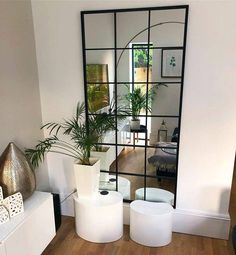 Brooklyn - Black Industrial Full Length Window Mirror x x , An overall view of this stylish modern mirror in a typical setting. Window Mirror Decor, Hallway Mirror, Black Wall Mirrors, Wall Mirror Ideas, Mirror Decorations, Corner Mirror, Hall Mirrors, Ikea Mirror, Mirror Room